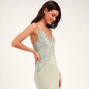 Sage green backless crochet maxi dress